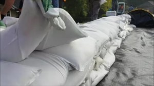 Dike of sandbags